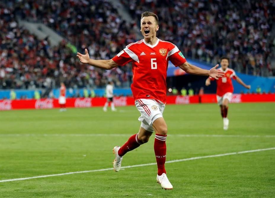 Cheryshev celebra su gol ante Egipto en la victoria 3-1 de los anfitriones