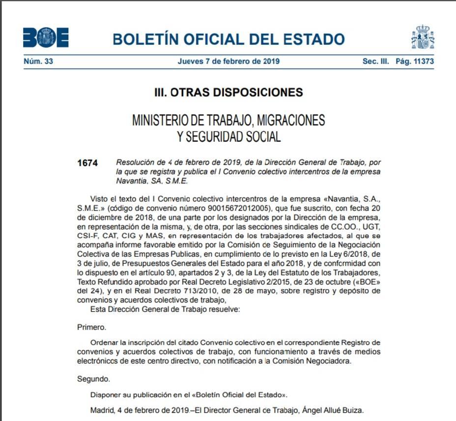 Boletín Oficial del Estado de este jueves