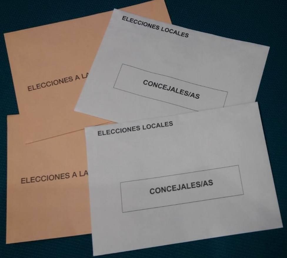Sobres de votación para las elecciones municipales y autonómicas