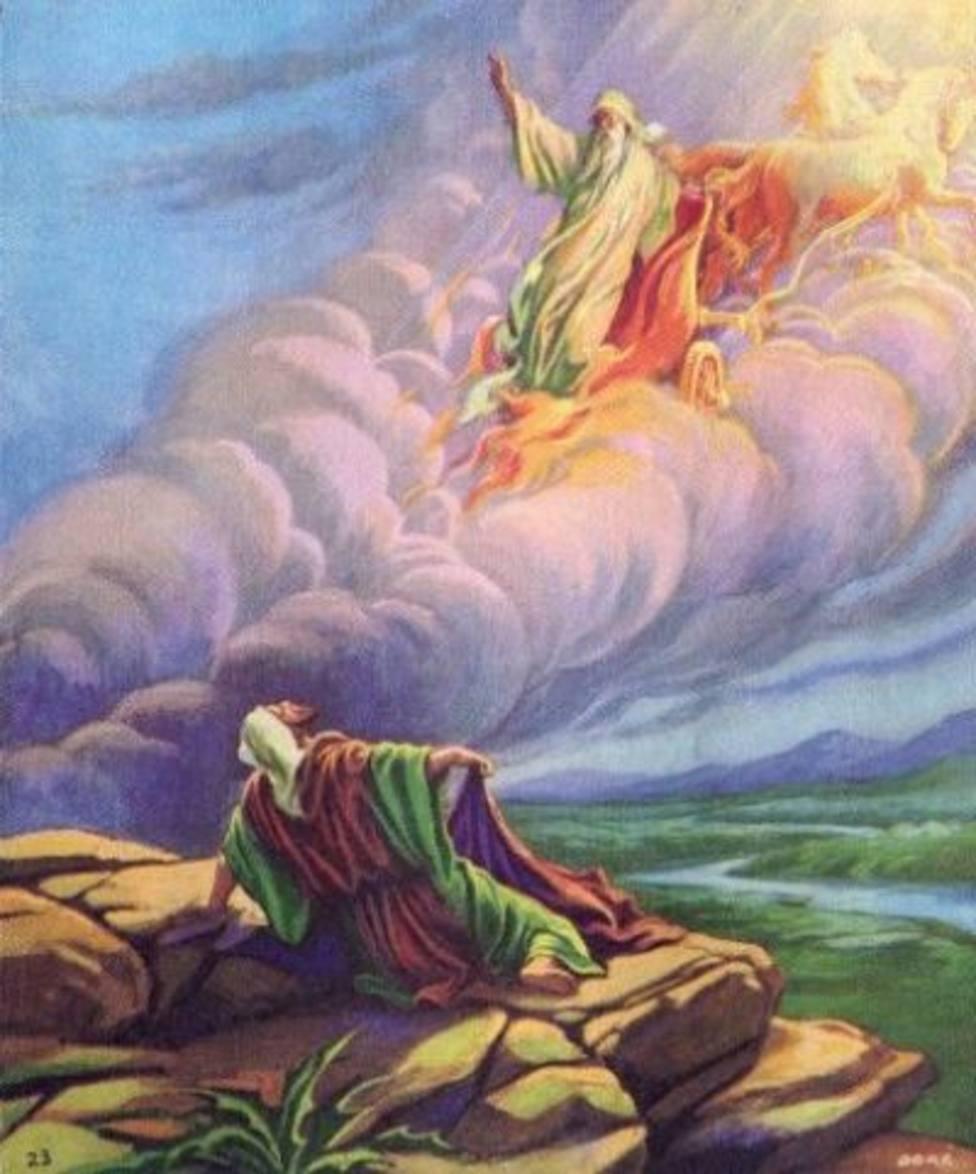 San Elías sube en un carro de fuego al cielo