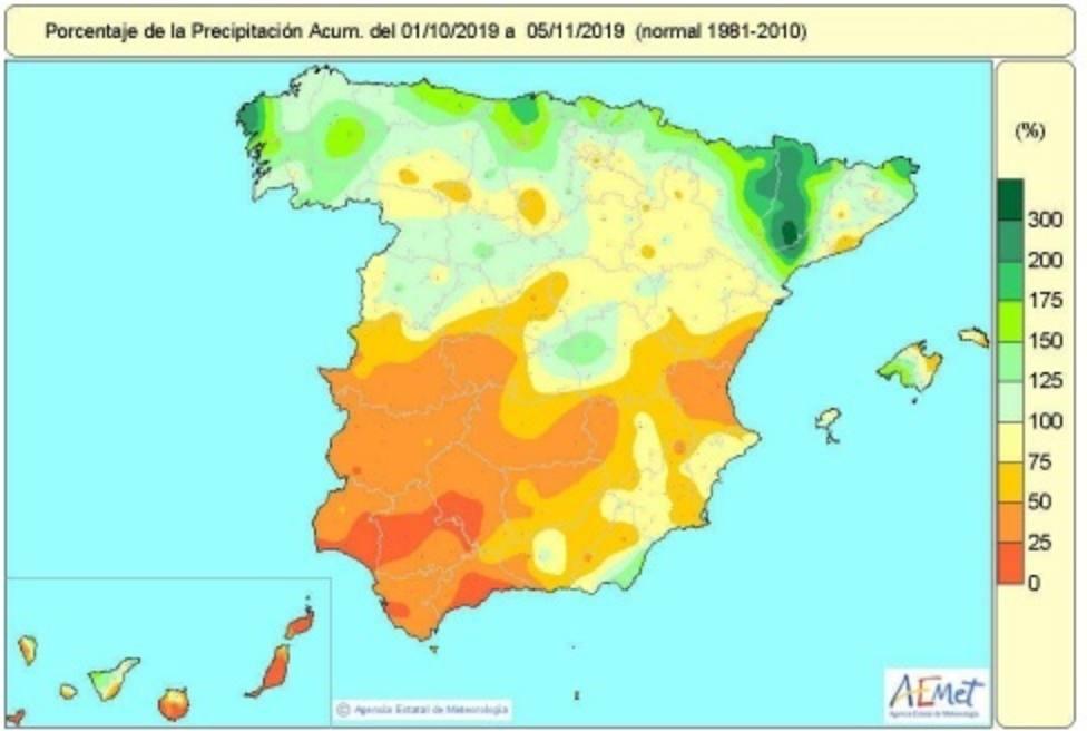 Las últimas lluvias reducen la falta acumulada de precipitaciones desde octubre hasta el 7%