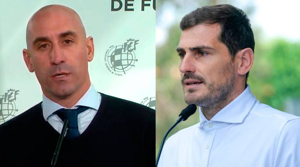 Luis Rubiales, presidente de la RFEF; e Iker Casillas, ex portero del Real Madrid