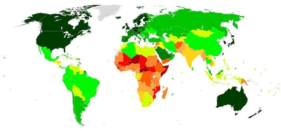 Mapa mundial del Índice de Desarrollo Humano