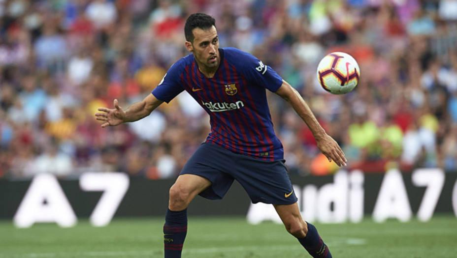 Busquets en un partido con el Barcelona