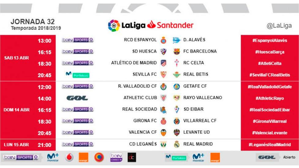 Horarios de la jornada 32 en LaLiga Santander (@LaLiga)