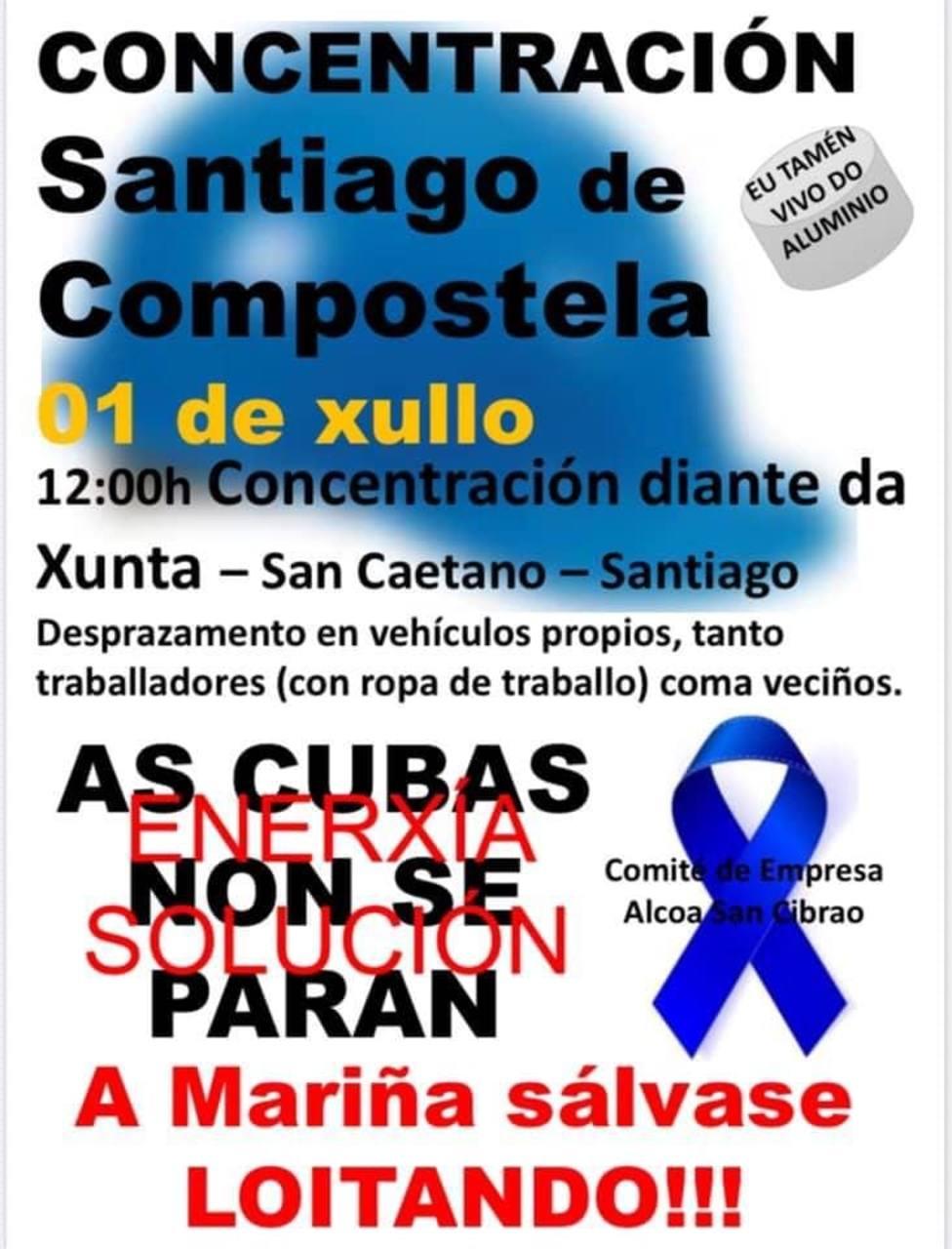 Cartel convocatoria para la concentración en Santiago de Compostela