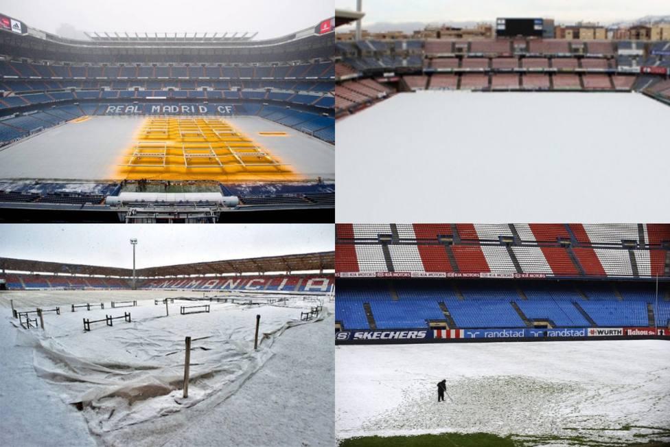 Las mayores nevadas del fútbol español en los últimos años