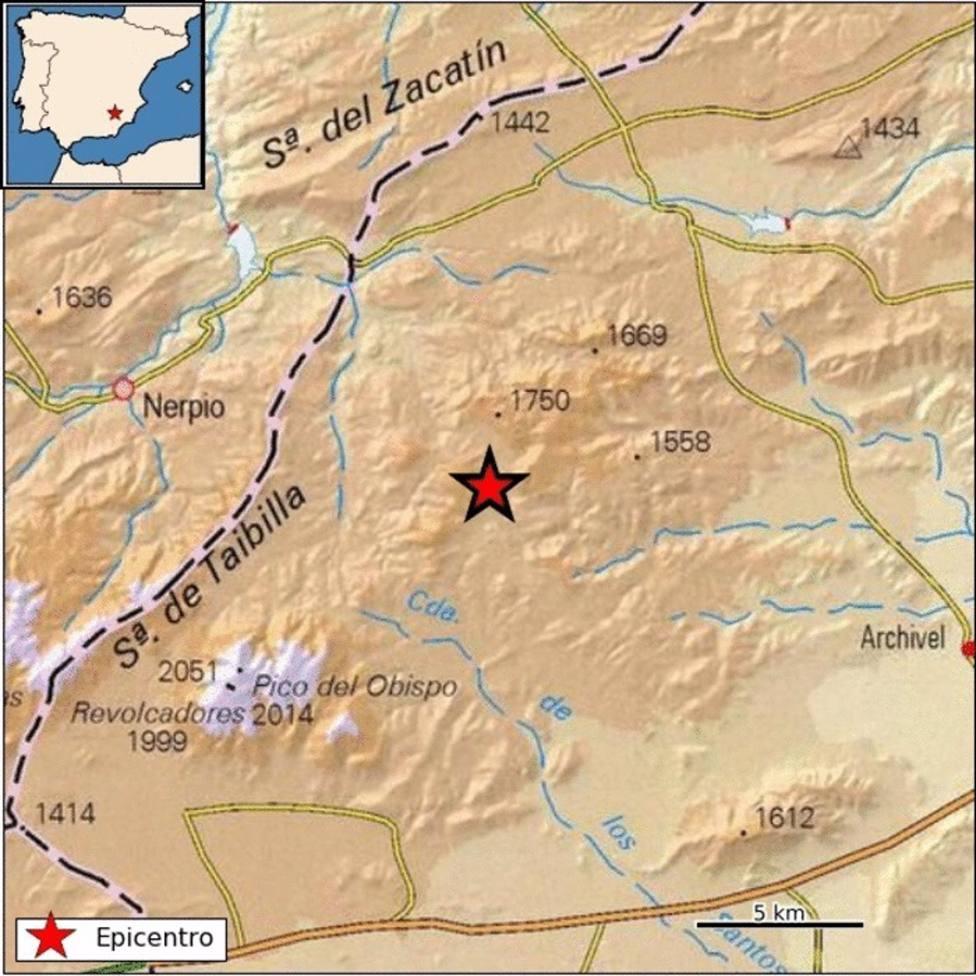 Lugar en el que ha tenido lugar el terremoto, en Moratalla