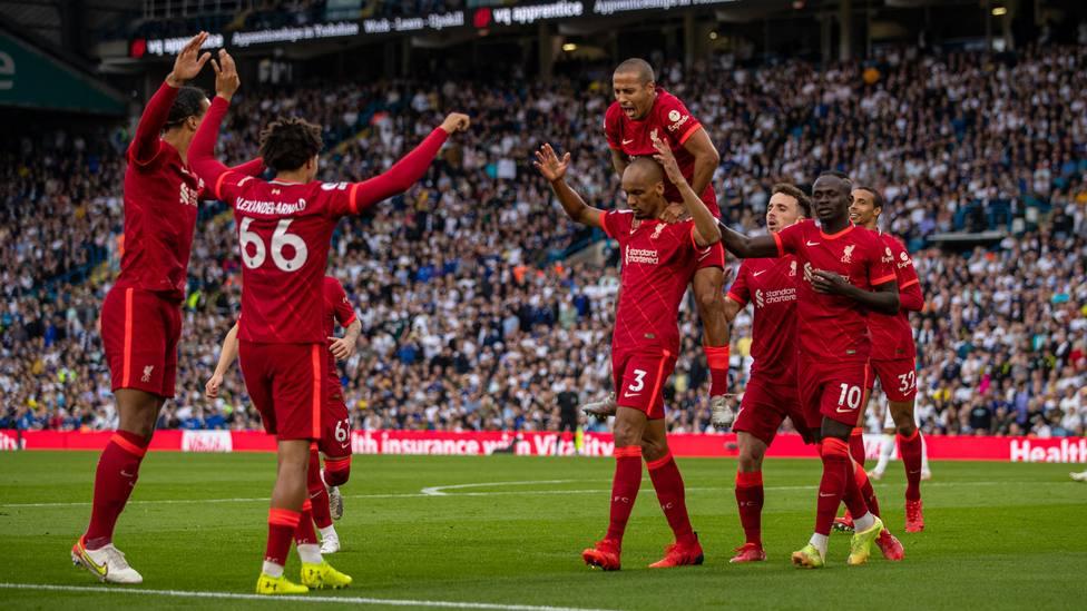 Los jugadores del Liverpool celebran uno de los goles ante el Leeds