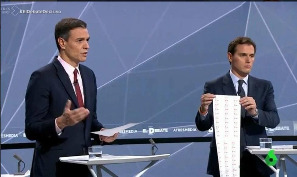 Los gadgets de Rivera y la respuesta de Iglesias, entre los zascas del debate
