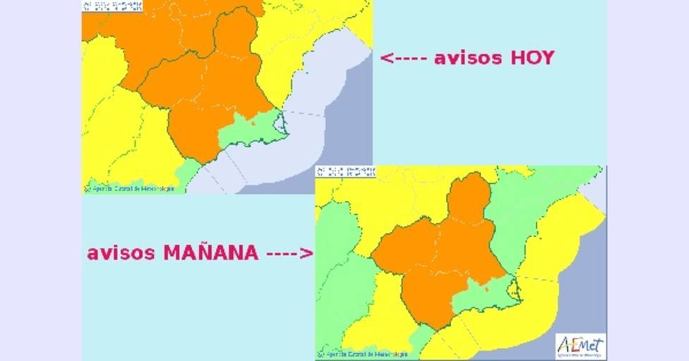 La Región de Murcia continuará este sábado en alerta naranja por fuertes lluvias