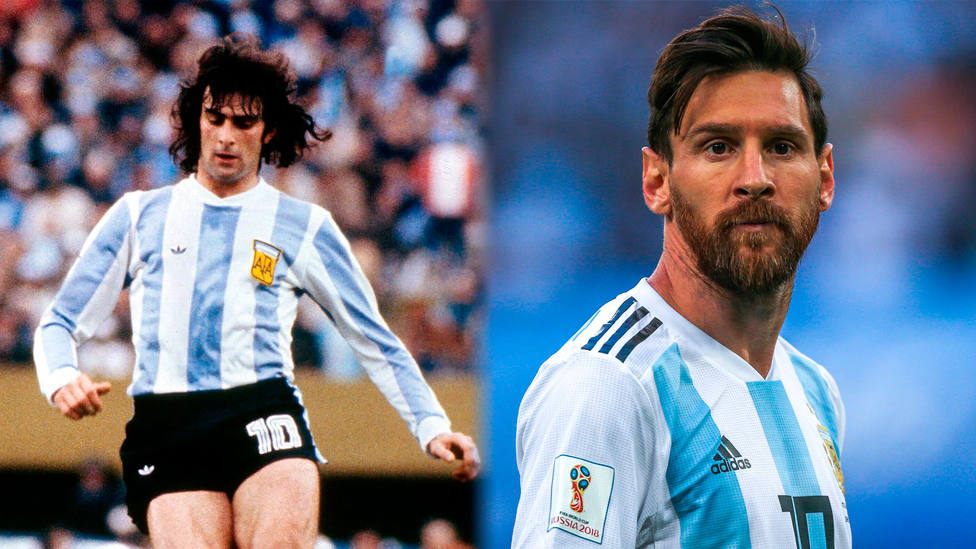 Mario Alberto Kempes y Leo Messi, con la camiseta de Argentina