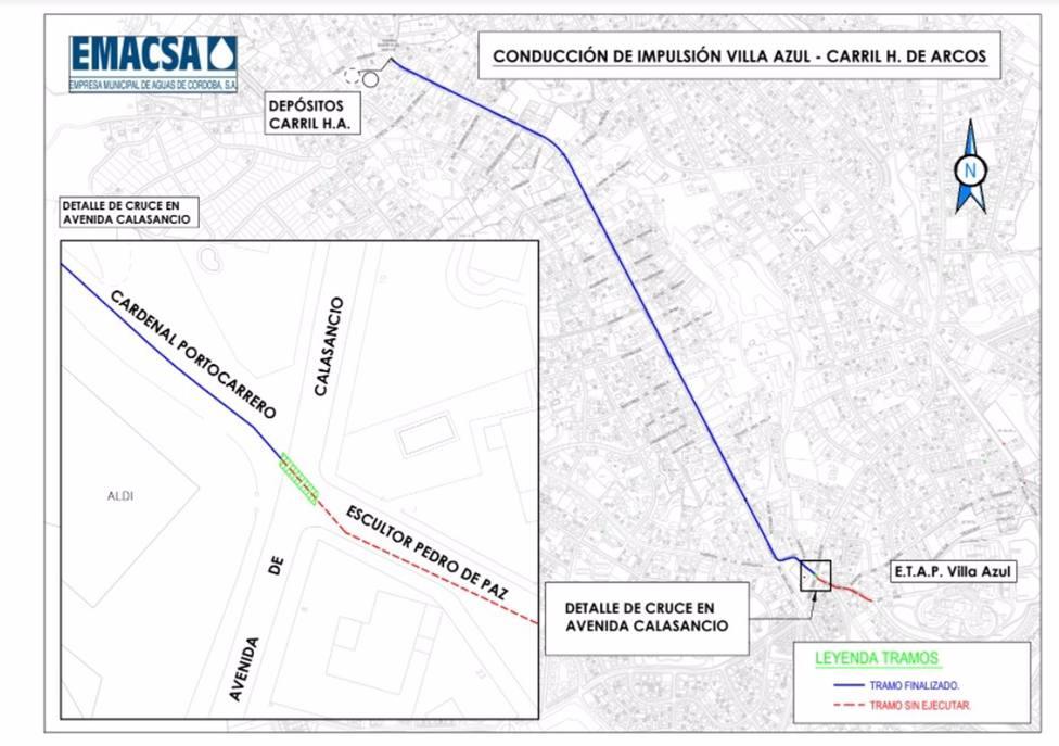 Las obras del bombeo de emergencia de Emacsa afecta desde este lunes al tráfico en la avenida del Calasancio