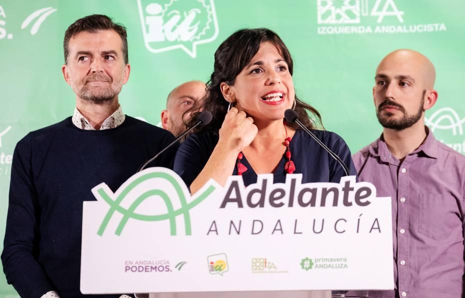 Teresa Rodríguez comparece tras el escrutinio. Adelante Andalucía ha conseguido 17 escaños