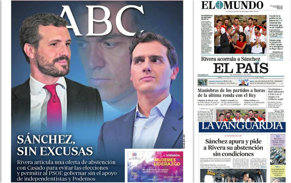 Sánchez, en un callejón sin salida ante el movimiento de Rivera, en las portadas de hoy