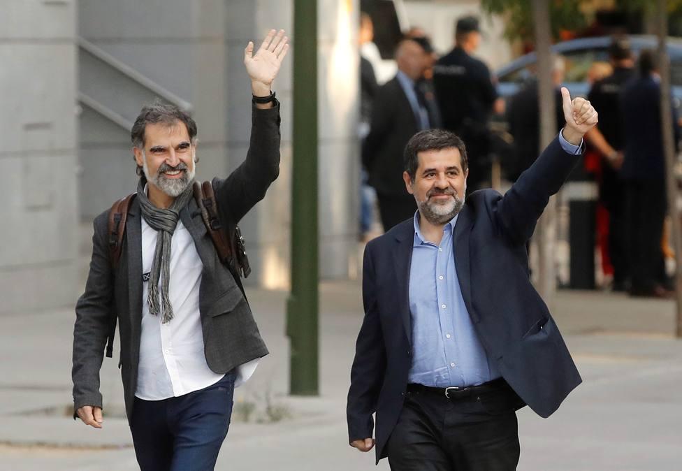Jordi Sánchez (ANC) y Jordi Cuixart de Ómnion Cultural en Audiencia Nacional