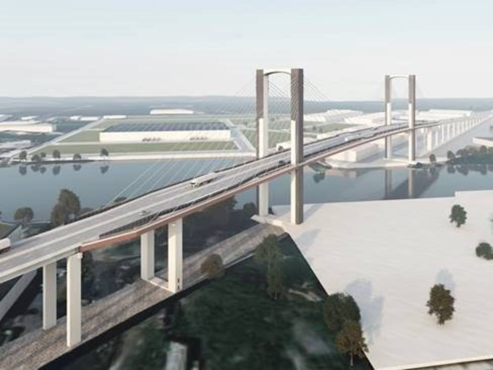 Recreación del Puente del Centenario de Sevilla tras la sustitución de tirantes y ampliación de carriles