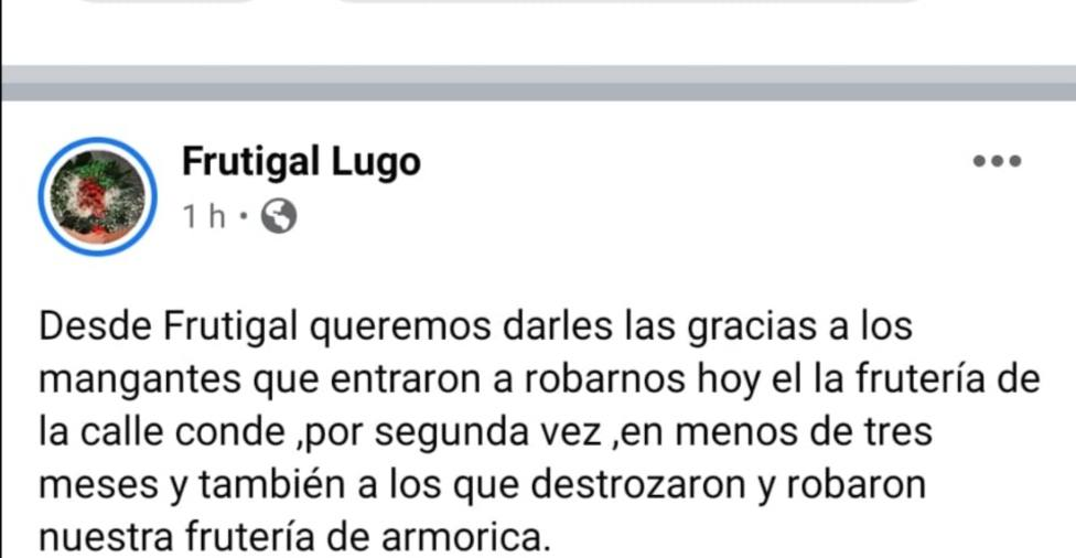 Roban por tercera vez en menos de tres meses a unos fruteros de Lugo