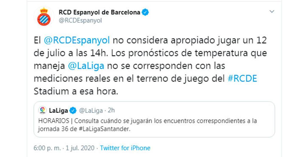 El Espanyol ve inapropiado jugar el 12 de julio a las 14.00 horas