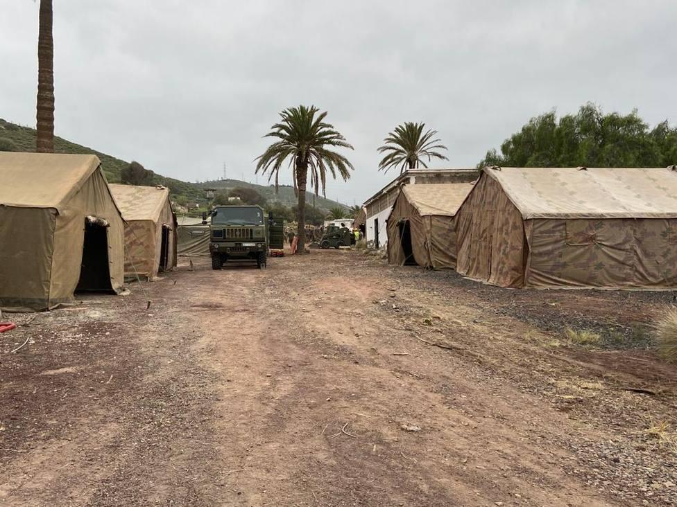 Campamento instalado en Barranco Seco para albergar a inmigrantes