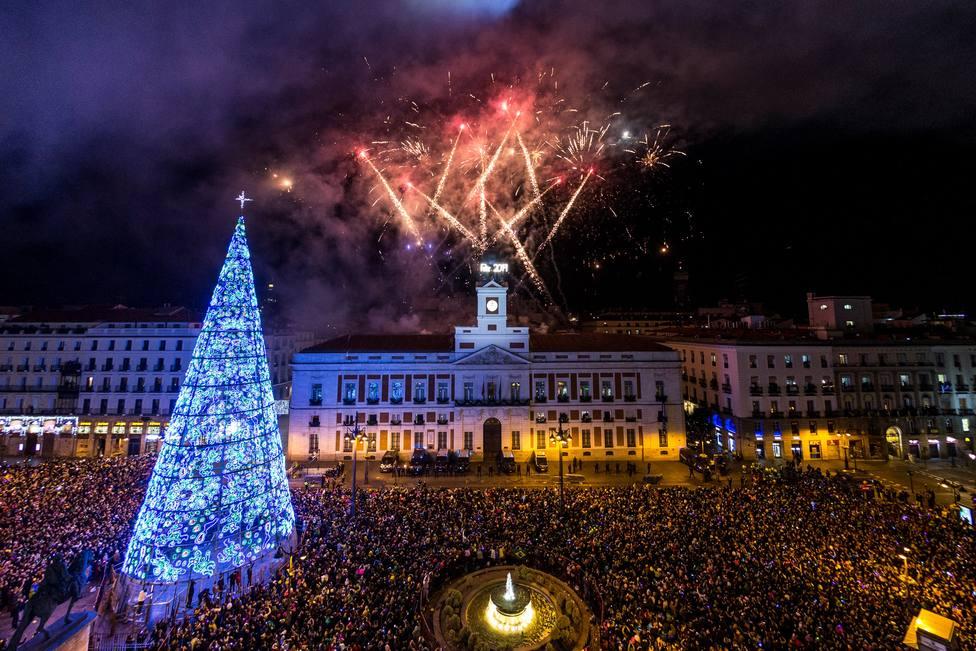 Celebración de las campanadas de fin de año en la Puerta del Sol de Madrid