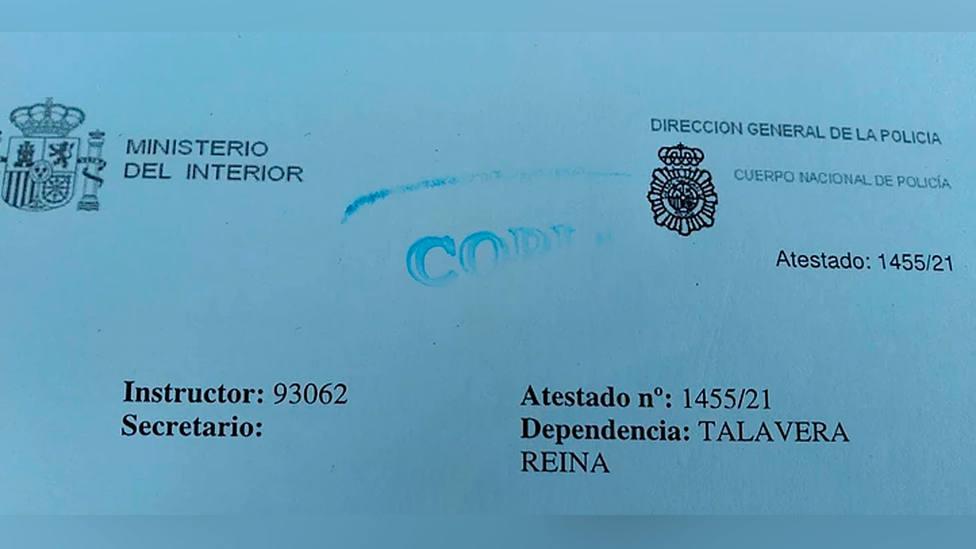 Denuncia que ha presentado el Talavera y Muñiz Fernández ante la Policía Nacional