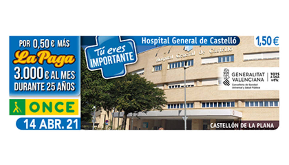 Cupón de la ONCE dedicado al Hospital General de Castellón