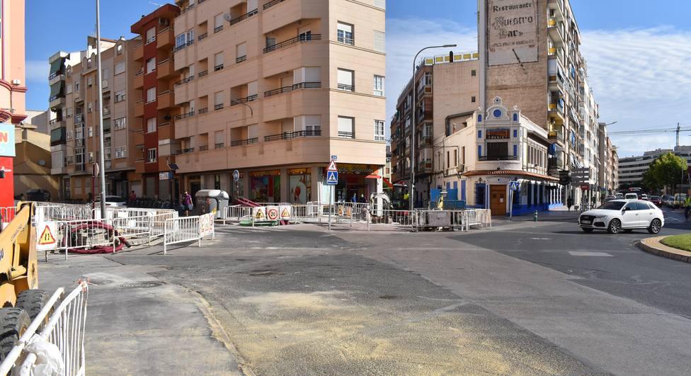 Obras en la plaza Alberto Mateos de estos días