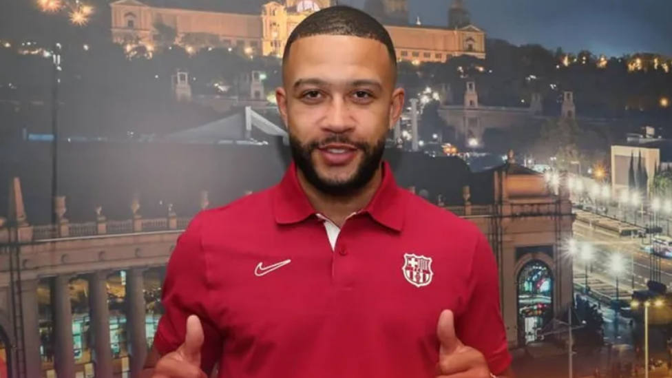 Depay, en la presentación como jugador del Barça.