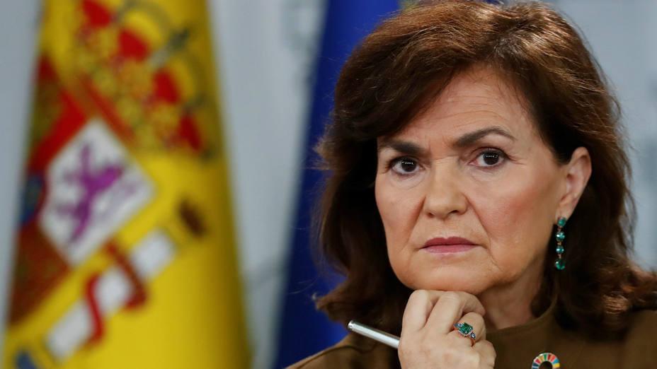 Carmen Calvo en la rueda de prensa del Consejo de Ministros