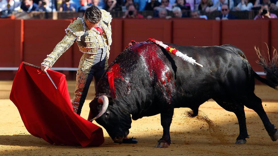 Templado derechazo de Diego Urdiales a su primer toro, con el que dio la vuelta al ruedo