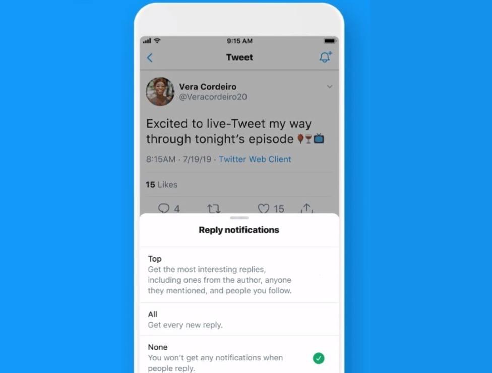Twitter prepara la posibilidad de recibir notificaciones para avisar de las respuestas a un tuit