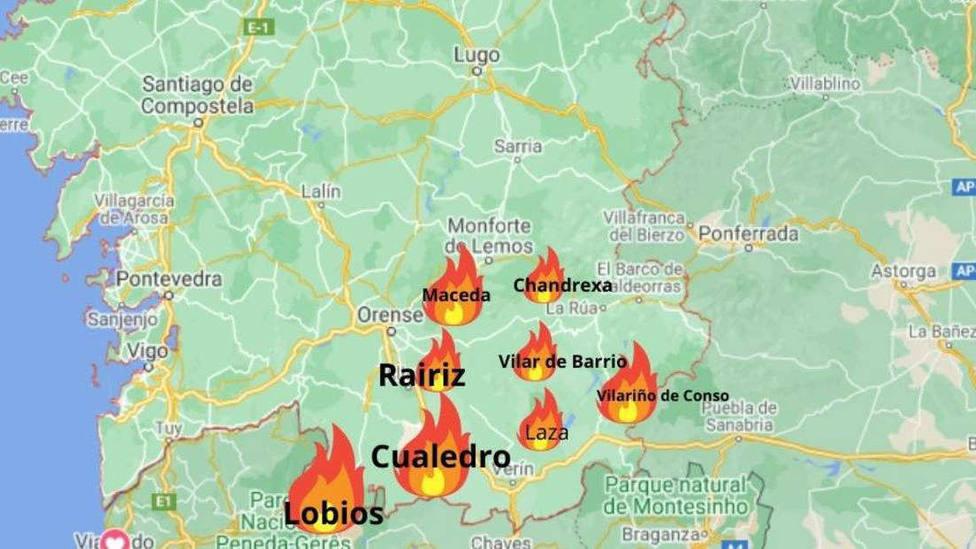 3.000 hectáreas quemadas en Ourense este fin de semana