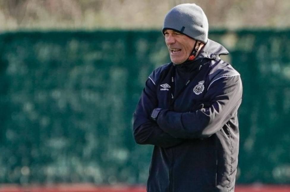 Luis García- durante un entrenamiento del Mallorca