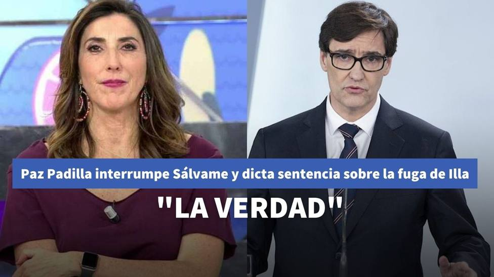 Paz Padilla interrumpe Sálvame y dicta sentencia sobre la fuga de Illa a Cataluña