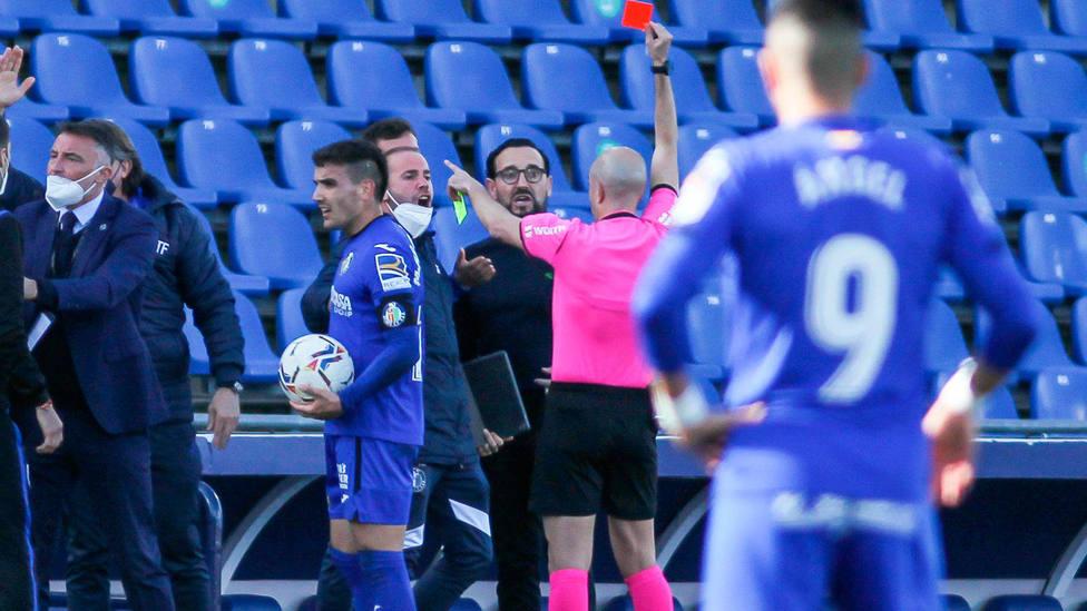 José Bordalás, expulsado en el partido del Getafe frente a la Real Sociedad, de LaLiga Santander. CORDONPRESS