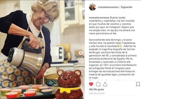 Primera publicación de Carmena en Instagram