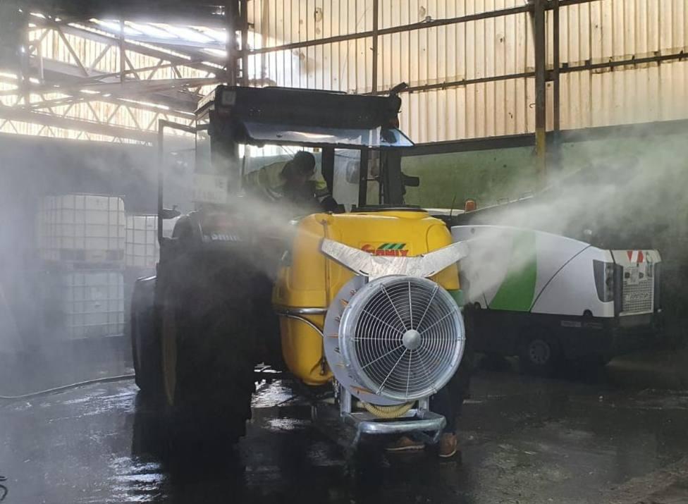 Atomizador utilizado en Narón para la limpieza de las calles - FOTO: Concello de Narón