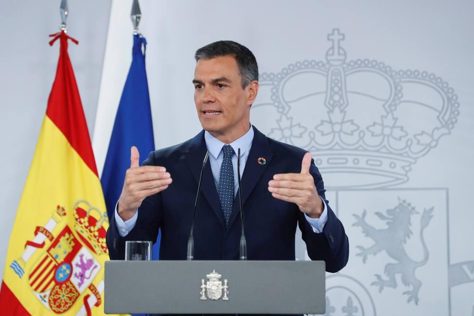 Pedro Sánchez durante la rueda de prensa tras el Consejo de Ministros
