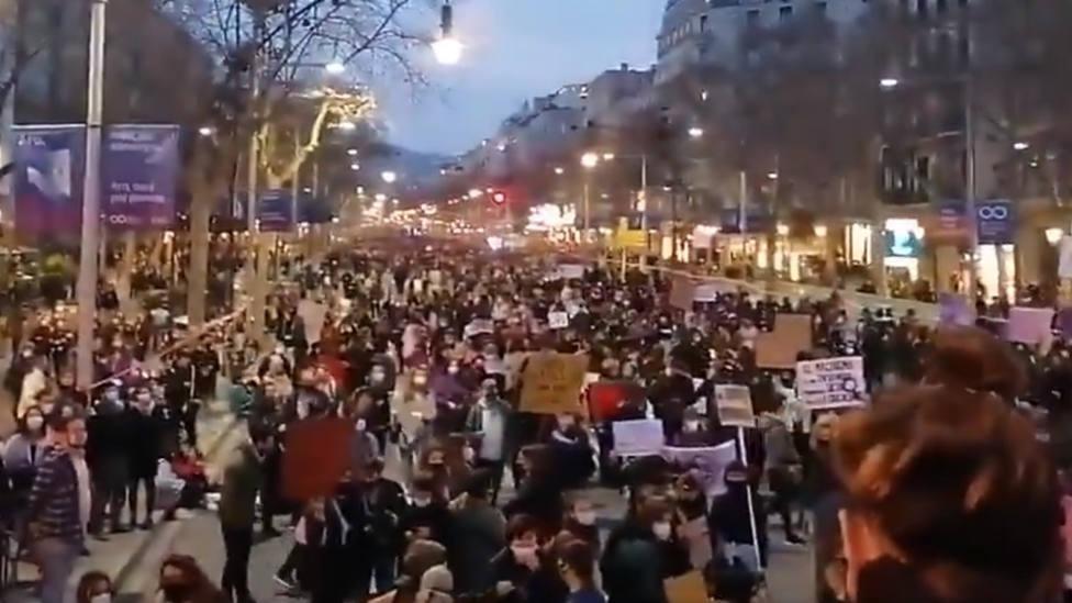 Así se ha producido la manifestación del 8M en Barcelona