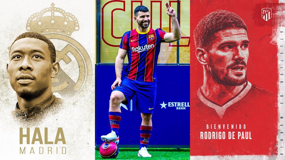 Alaba, del Real Madrid; Kun Agüero, del Barça; Rodrigo de Paul, del Atleti.