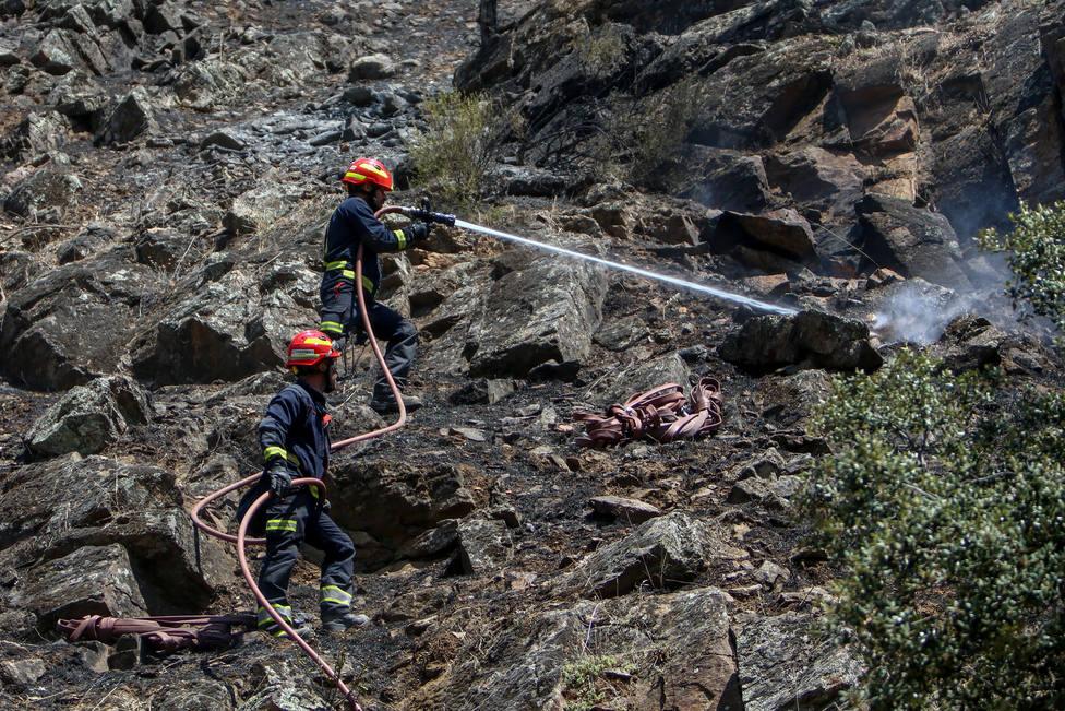 Los bomberos extinguen por completo el incendio en el pantano de San Juan e investigan su origen