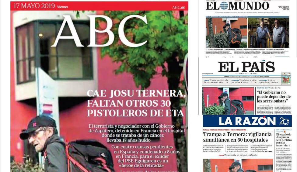 La detención de Josu Ternera tras 17 años fugado, portada en la prensa del viernes