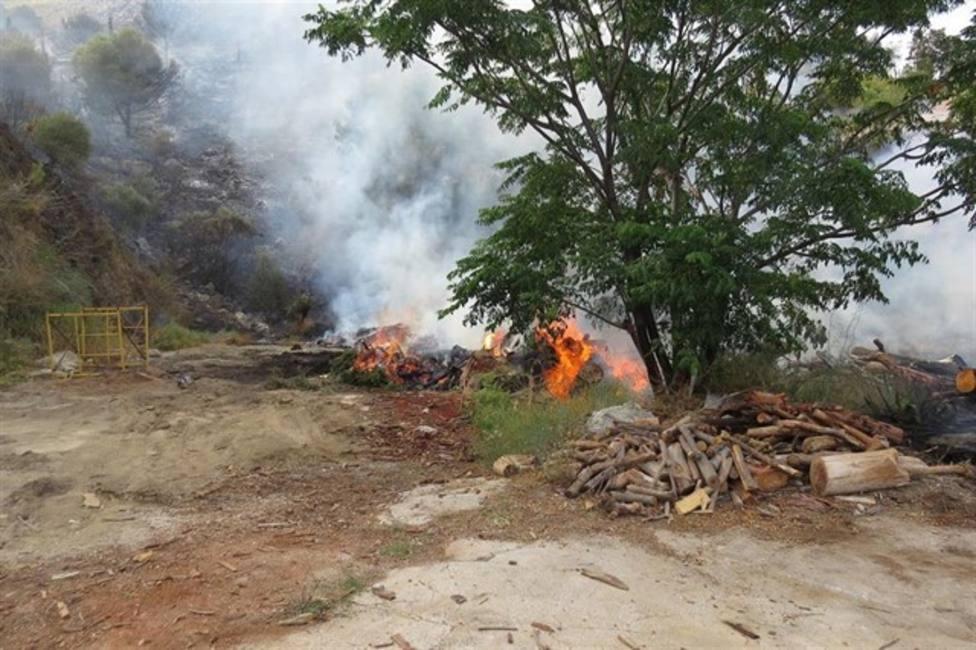 Detenidos dos trabajadores de una empresa de leña por un incendio en El Higuerón