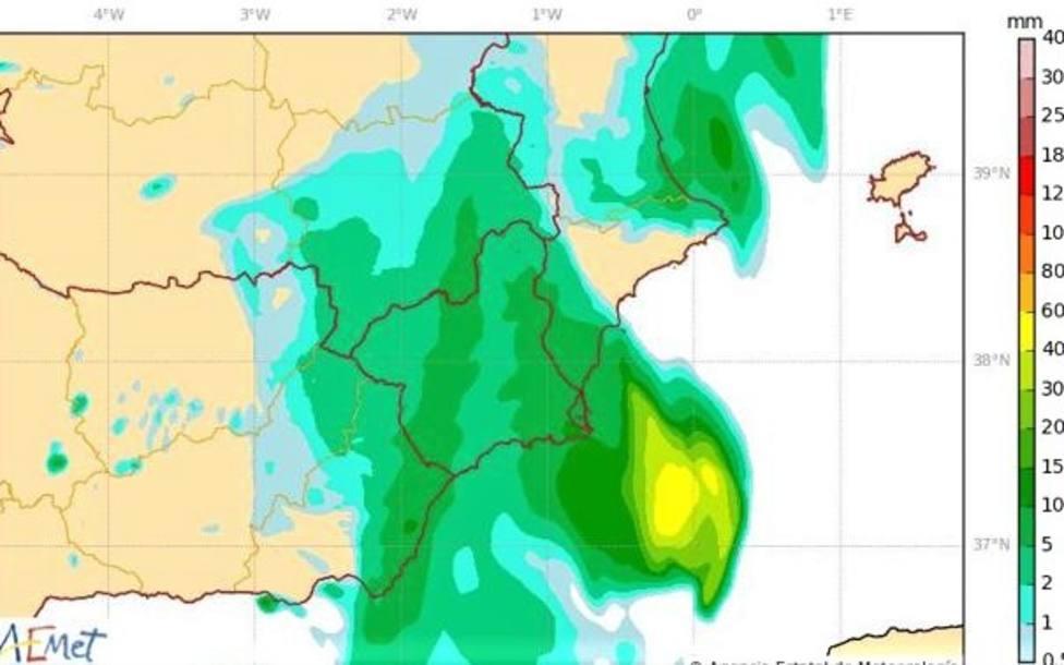 Un sistema de tormentas pasará frente a las costa de la Región de Murcia en las próximas horas