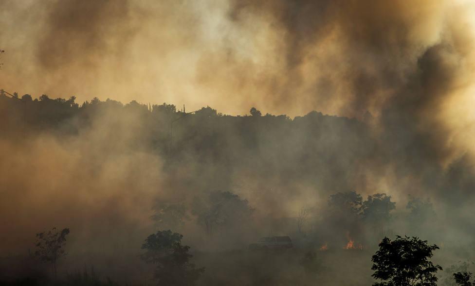 Arrasadas120 hectáreas de masa forestal por un incendio en Monávar, Alicante