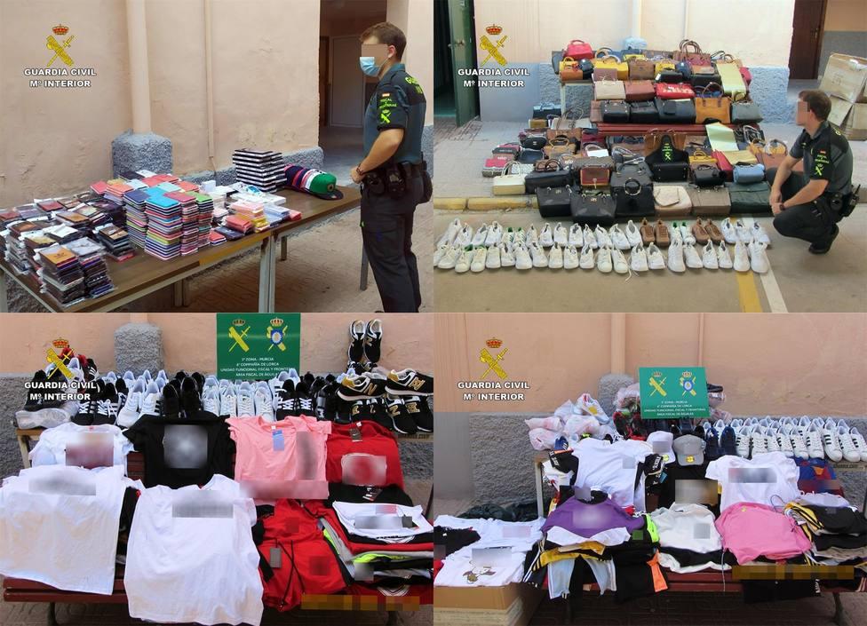 Guardia Civil interviene 1.500 productos falsificados e investiga a 4 personas en Águilas, Lorca y Totana