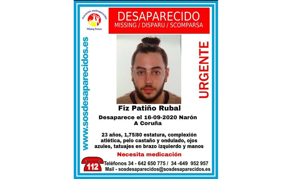 Foto de Fiz Patiño Rubal y algunas descripciones de su físico - FOTO: SOS Desaparecidos