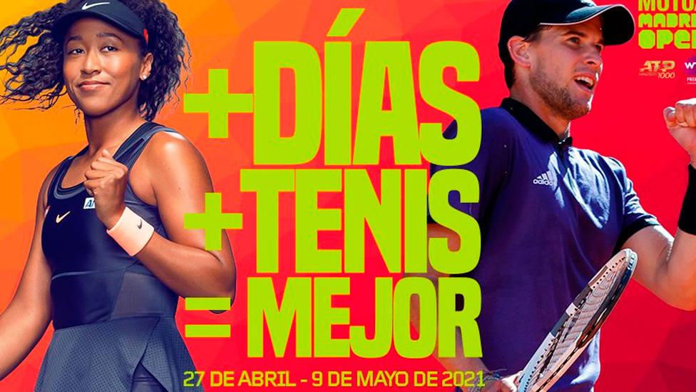 Cartel del Mutua Madrid Open 2021 que anuncia la duración de dos semanas