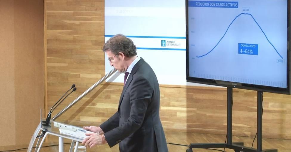 El presidente de la Xunta de Galicia, Alberto Núñez Feijóo, en rueda de prensa